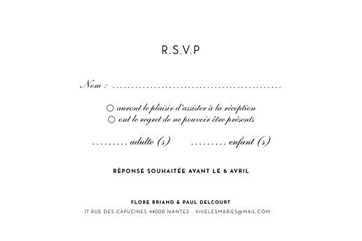 Carton réponse mariage Esquisse fleurie blanc - Page 2