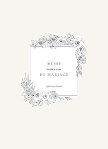 Livret de messe mariage tous genres esquisse fleurie blanc