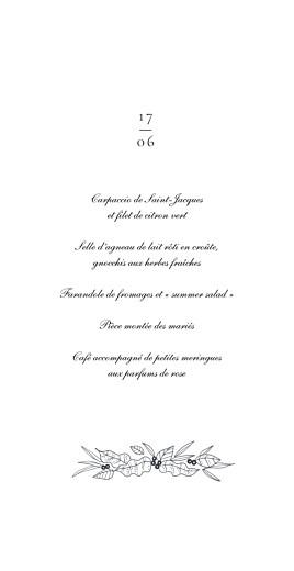 Menu de mariage Esquisse fleurie blanc - Page 3