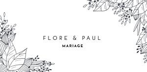 Marque-place mariage classique esquisse fleurie blanc