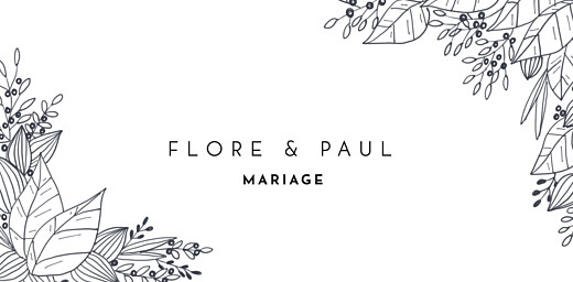 Marque-place mariage Esquisse fleurie blanc