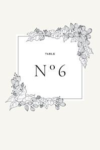 Marque-table mariage classique esquisse fleurie blanc