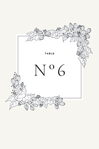 Marque-table mariage esquisse fleurie blanc