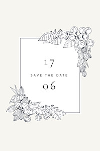 Save the date esquisse fleurie blanc