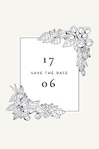 Save the date tomoë  esquisse fleurie (photo) blanc