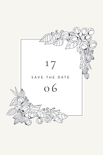 Save the Date Esquisse fleurie (photo) blanc