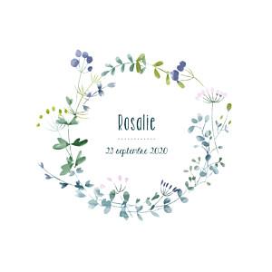 Faire-part de naissance classique bouquet sauvage violet