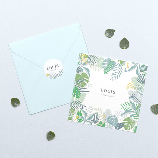 Stickers pour enveloppes naissance Jardin tropical vert - Gamme