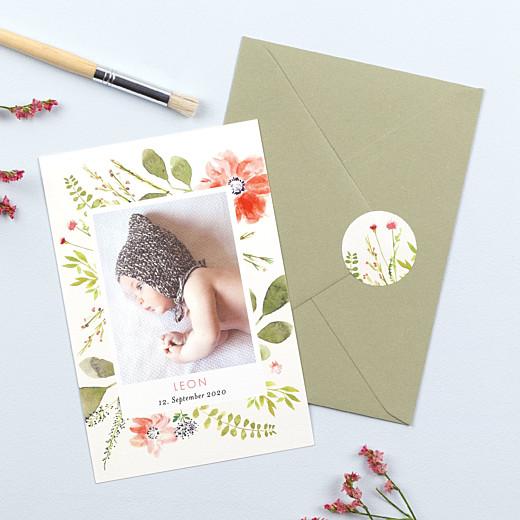 Stickers pour enveloppes naissance Fleurs aquarelle crème - Gamme