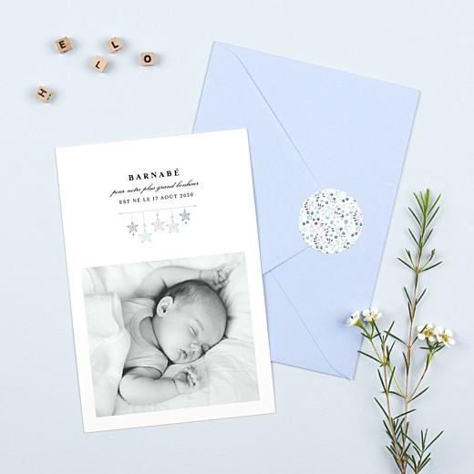 Stickers pour enveloppes naissance Liberty origami étoile bleu - Gamme