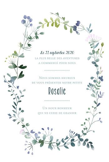 Faire-part de naissance Bouquet sauvage (portrait) blue