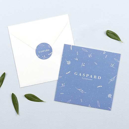 Stickers pour enveloppes naissance Élégant feuillage bleu - Gamme