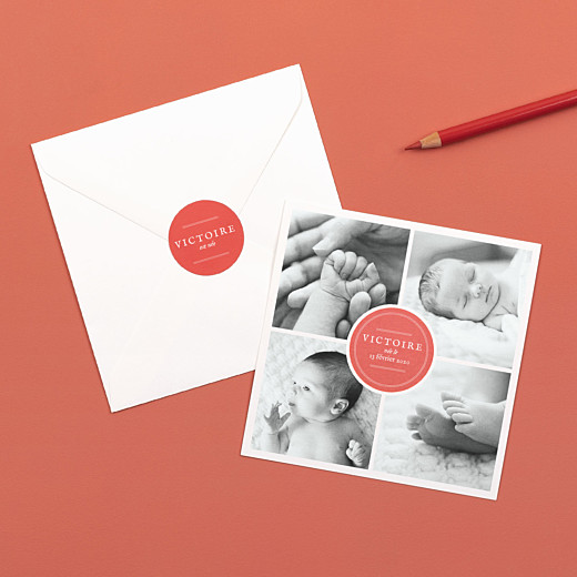 Stickers pour enveloppes naissance Médaillon corail - Gamme