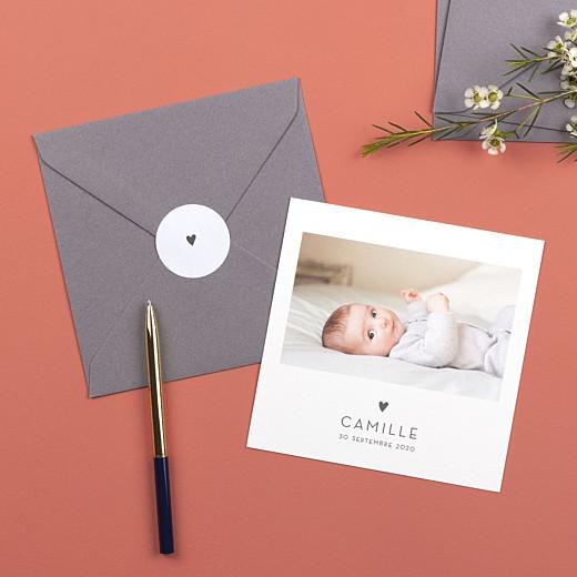 Stickers pour enveloppes naissance Élégant cœur gris - Gamme