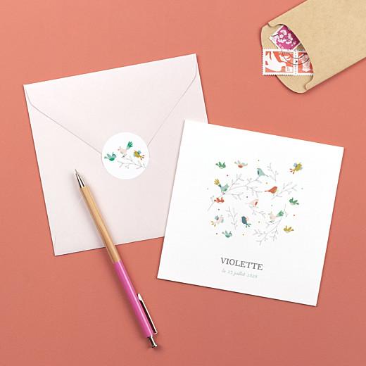 Stickers Naissance Oiseaux multicolores rose - Gamme