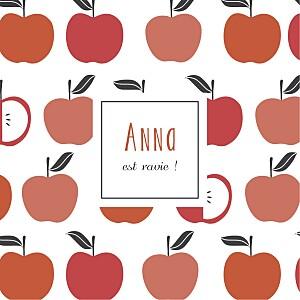 Carte de remerciement rouge merci petits fruits pomme
