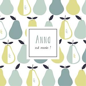 Carte de remerciement vert merci petits fruits poire