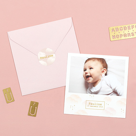 Stickers pour enveloppes naissance Brume rose - Gamme