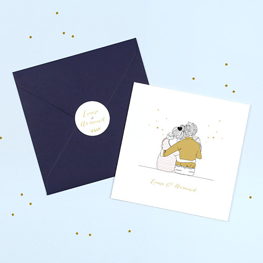 Stickers pour enveloppes naissance Lovely family jumeaux ocre - Gamme