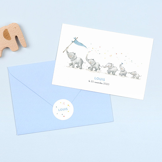 Stickers pour enveloppes naissance Éléphants en famille blanc - Gamme