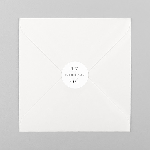 Stickers pour enveloppes mariage Esquisse fleurie blanc - Vue 1