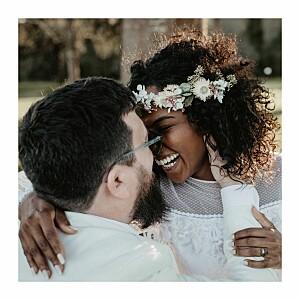 Carte de remerciement mariage original promesse bohème (4 pages) blanc