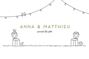 Marque-table mariage original promesse bohème blanc