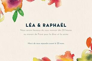Carton d'invitation mariage bloom beige