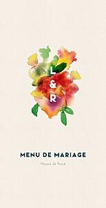 Menu de mariage moderne bloom beige