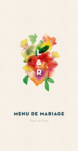 Menu de mariage Bloom beige