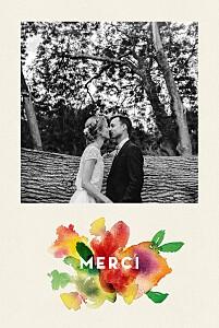Carte de remerciement mariage beige bloom beige