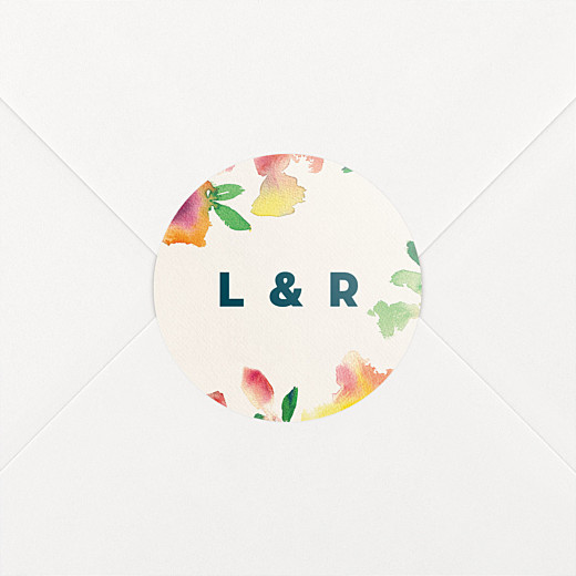 Stickers pour enveloppes mariage Bloom beige - Vue 2