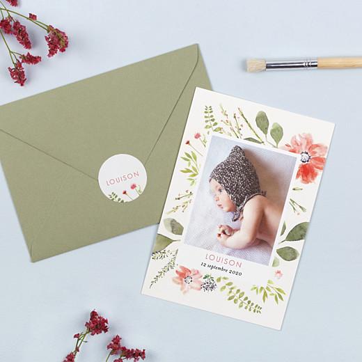 Stickers Naissance Fleurs aquarelle crème - Gamme