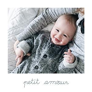 Faire-part de naissance avec photo mots doux (mini format) amour