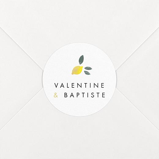 Stickers pour enveloppes mariage Palermo jaune et blanc - Vue 2