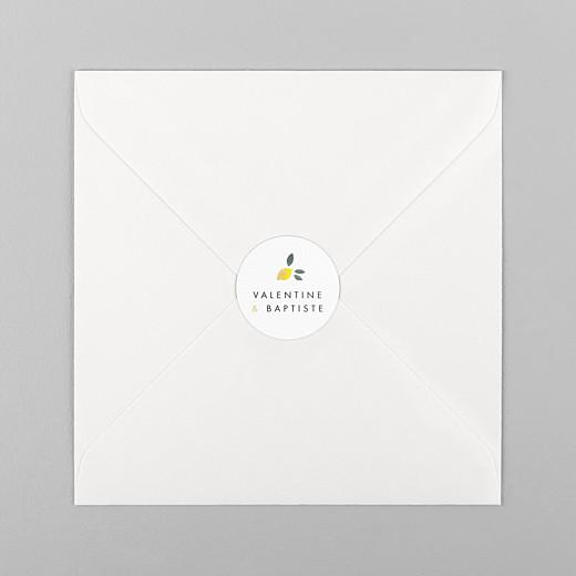 Stickers pour enveloppes mariage Palermo jaune et blanc - Vue 1