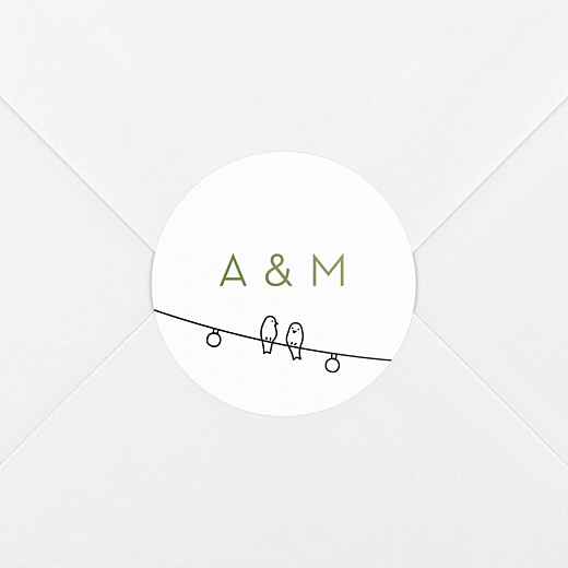 Stickers pour enveloppes mariage Promesse bohème blanc - Vue 2