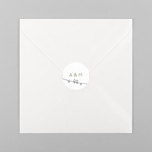 Stickers pour enveloppes mariage Promesse bohème blanc - Vue 1