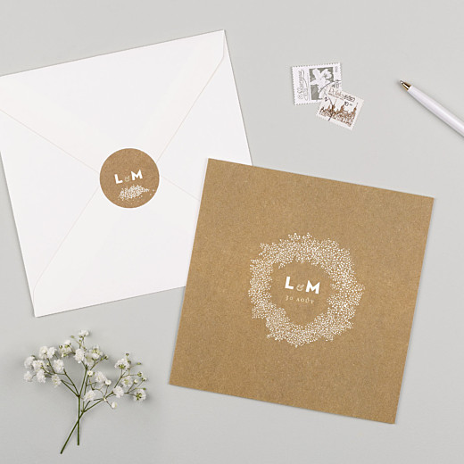 Stickers pour enveloppes mariage Gypsophile kraft - Gamme