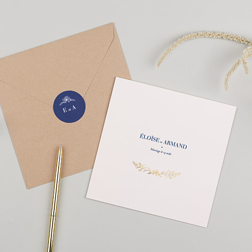 Stickers pour enveloppes mariage Nature chic bleu - Gamme