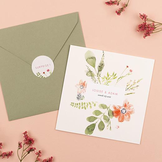 Stickers mariage Fleurs aquarelle crème - Gamme