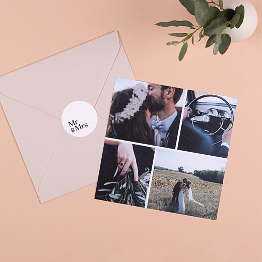 Stickers pour enveloppes mariage Mr & mrs blanc - Gamme