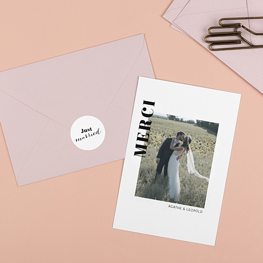 Stickers pour enveloppes mariage Just married blanc - Gamme