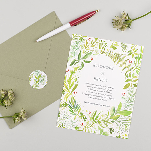 Stickers pour enveloppes mariage Murmure vert - Gamme