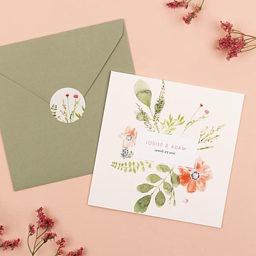 Stickers pour enveloppes mariage Fleurs aquarelle crème - Gamme