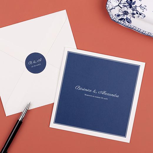 Stickers pour enveloppes mariage Carré chic bleu marine - Gamme