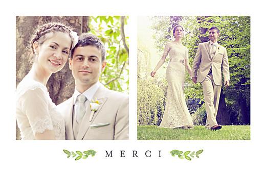 Carte de remerciement mariage Canopée vert
