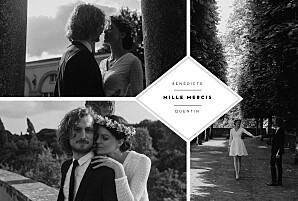 Carte de remerciement mariage vintage écusson 4 photos paysage blanc