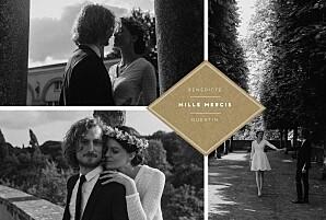 Carte de remerciement mariage marron écusson 4 photos paysage kraft