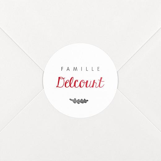 Stickers pour enveloppes vœux Feuillage d'hiver blanc - Vue 2